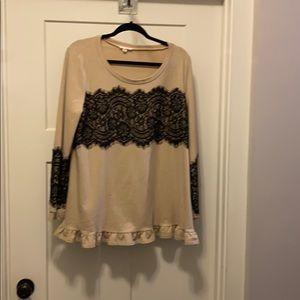 Beige Ruffled Bottom Black Lace Design